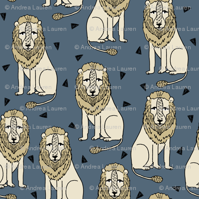 lion // sitting lion grey and mustard blue