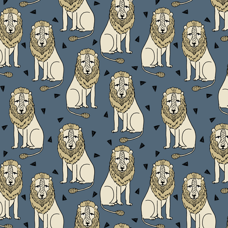 lion // sitting lion grey and mustard blue fabric by andrea_lauren on Spoonflower - custom fabric