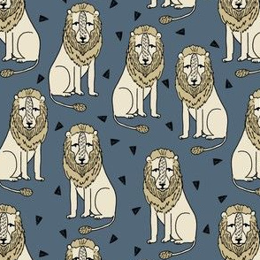 lion // sitting lion grey and mustard blue