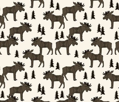 Moose Forest - Dark Brown and Cream by Andrea Lauren  fabric by andrea_lauren on Spoonflower - custom fabric
