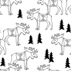 Moose Forest - White and Black by Andrea Lauren
