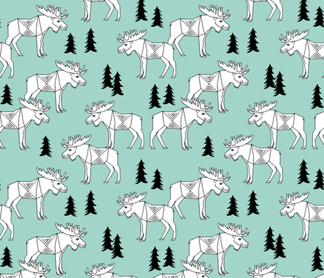 Moose Forest - Pale Turquoise by Andrea Lauren  fabric by andrea_lauren on Spoonflower - custom fabric