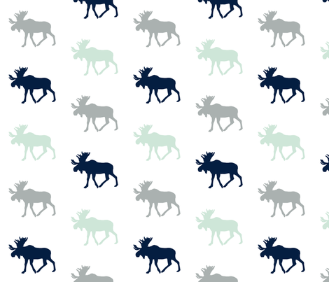Multi Moose // Northern Lights - Grey/Mint/Navy fabric by littlearrowdesign on Spoonflower - custom fabric