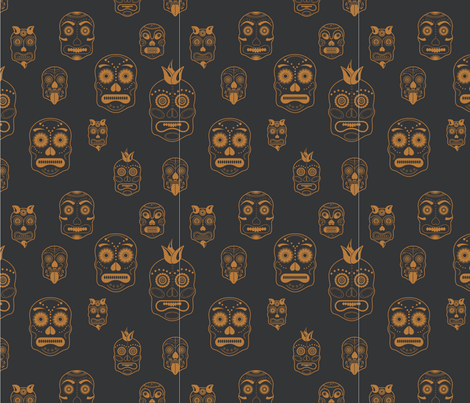 Sugar and Spices Skulls Black & Gold fabric by pamela_hamilton on Spoonflower - custom fabric