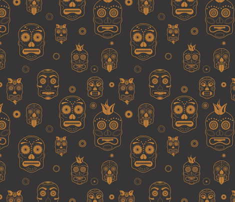 Sugar Black & Gold Skulls Flowered Sprinkles fabric by pamela_hamilton on Spoonflower - custom fabric