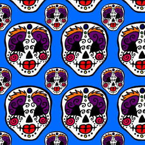 Sugar Skulls On Blue