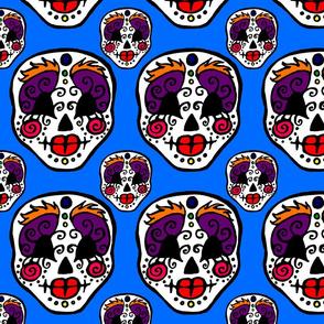 Sugar Skulls On Blue
