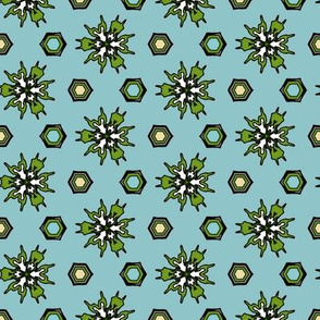 Abstract Blue, Teal, Yellow Pattern