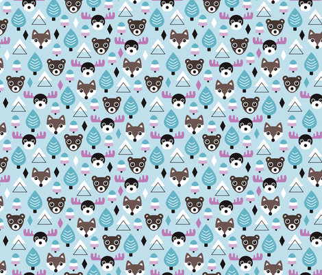 Winter wonderland moose and grizzly bear forest for Kids print fabric