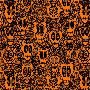 calaveras - orange and black