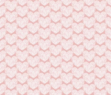 Heart_Garden_pink fabric by j9design on Spoonflower - custom fabric