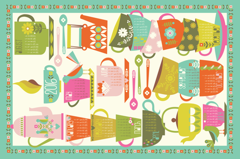 2016 Tea and Coffee Calendar - Bright fabric by oliveandruby on Spoonflower - custom fabric