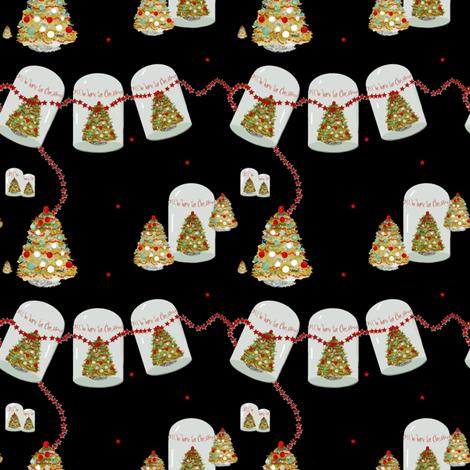 i_ll_be_home_for_chistmas_on_black_edited-1 fabric by karenharveycox on Spoonflower - custom fabric