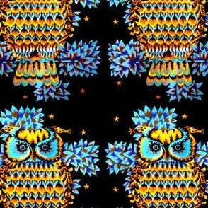 vintage retro owls trees leaves night stars tribal folk art north west northwest abstract