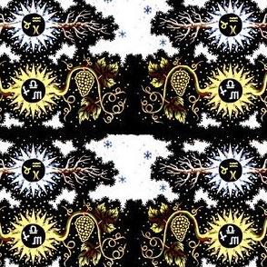 vintage leaves tribal folk art abstract astrology roots grapes vines flowers Taurus Aquarius Pisces Libra Scorpio Sagittarius stars signs symbols