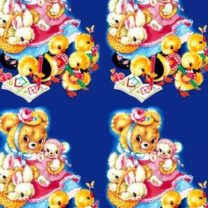 vintage retro kitsch bears rabbits bunnies bunny ducks ducklings geese goose birds crayons coloring books Anthropomorphic whimsical butterflies
