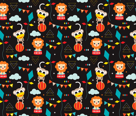 Colorful geometric circus animals lion elephant clown and monkey party fabric by littlesmilemakers on Spoonflower - custom fabric