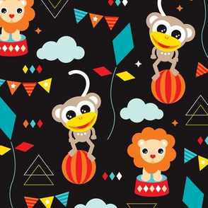 Colorful geometric circus animals lion elephant clown and monkey party