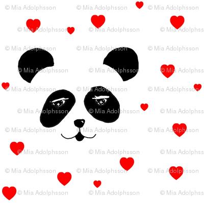 panda & hearts red