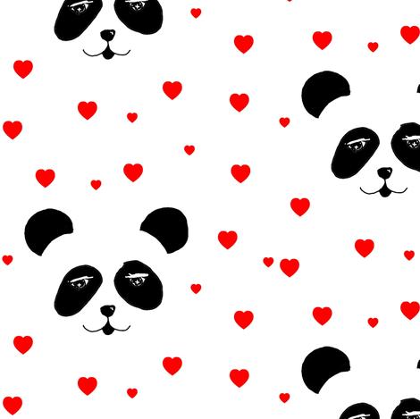 panda & hearts red fabric by miamea on Spoonflower - custom fabric
