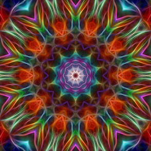 Rainbow Fractal Kaleidoscope Tile 316