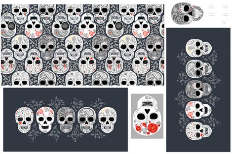 Calaveras_Pillows-01 fabric by robinpickens on Spoonflower - custom fabric