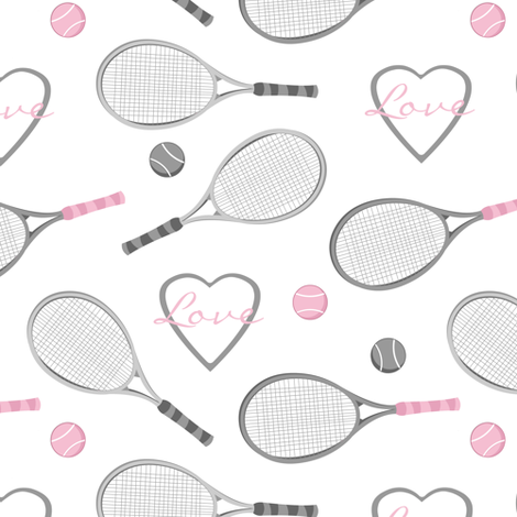 Tennis Love Pattern fabric by jannasalak on Spoonflower - custom fabric