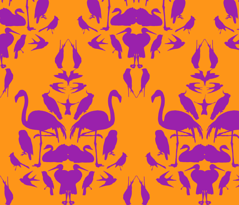 Bird Damask- Orange/Purple fabric by amandah79 on Spoonflower - custom fabric