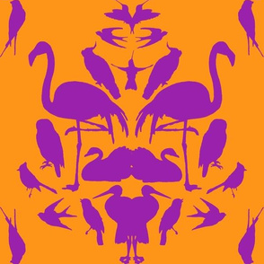 Bird Damask- Orange/Purple