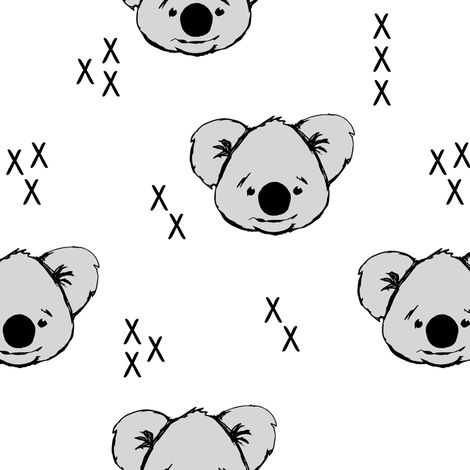 Koala // white fabric by littlearrowdesign on Spoonflower - custom fabric
