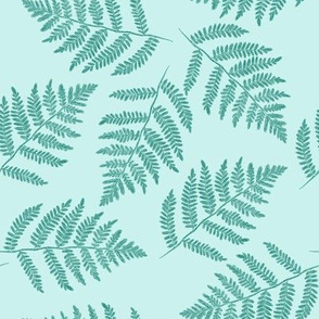 ferns in spruce blue - counterchanged