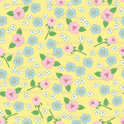 Small Floral on Yellow