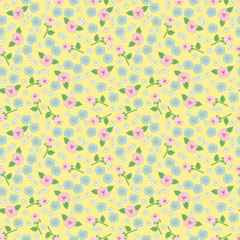 Small Floral on Yellow fabric by dollycraft on Spoonflower - custom fabric