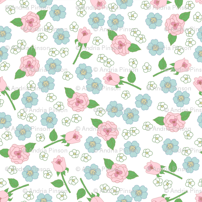Tiny Floral on White