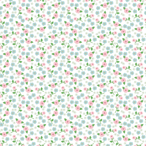 Tiny Floral on White fabric by dollycraft on Spoonflower - custom fabric