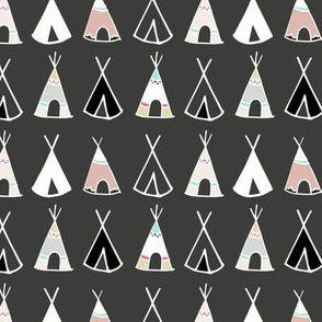 Tribal Teepees on Charcoal