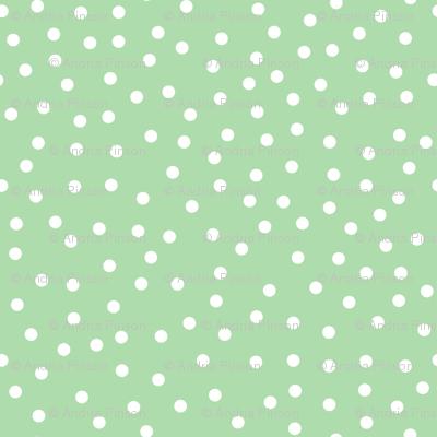 Tiny Dots White on Lt Green