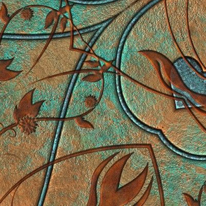 Copper Patina And Vines Fabric And Goods Print