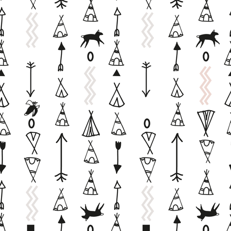 Tepee Tribe with Zing (on White) fabric by nat_williamson on Spoonflower - custom fabric