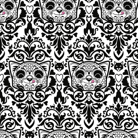 candy_cat_damask_B_W fabric by woodmouse&bobbit on Spoonflower - custom fabric
