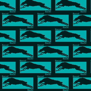 Teal & Black Borzoi Rock!