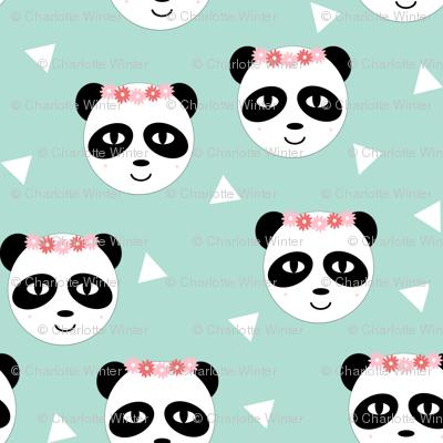 Panda Flower Crown Mint Tri Triangle Cute Girly Pastel