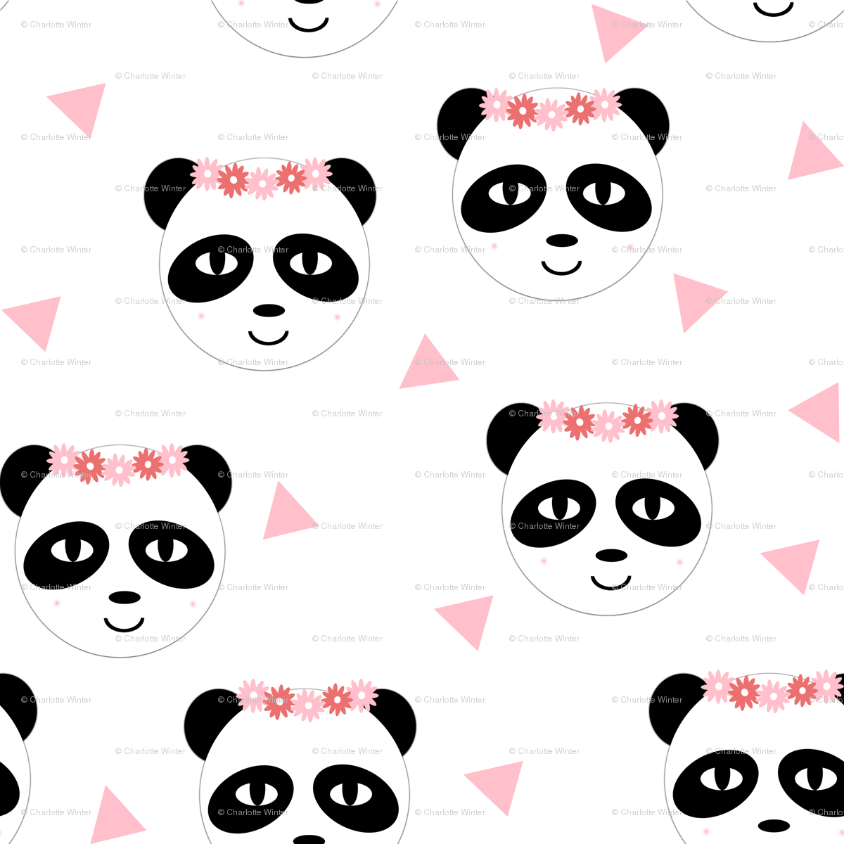 Panda Flower Crown Pink Girly Cute Tri Triangle Pastel Black And