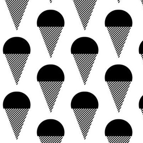 ice cream cone black and white