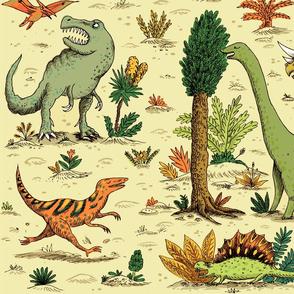 Dinosaurs on sand
