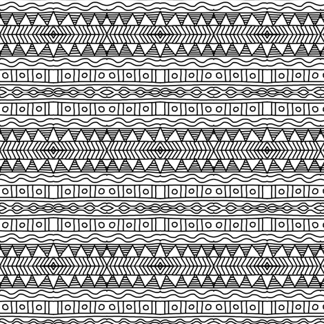 Native Pottery Black White fabric by eve_catt_art on Spoonflower - custom fabric