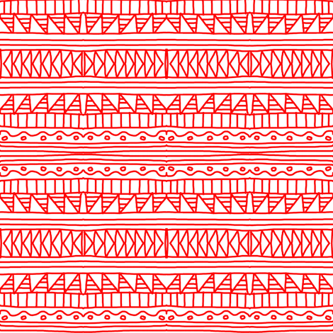 Native Red White Simple fabric by eve_catt_art on Spoonflower - custom fabric
