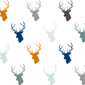 Navy & Orange Deer with Gray