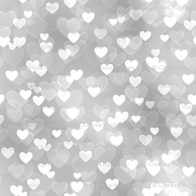 Gold And Silver Theme Heart Bokeh Pattern 7 Fabric