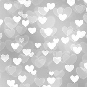 Gold and Silver Theme Heart Bokeh Pattern #7